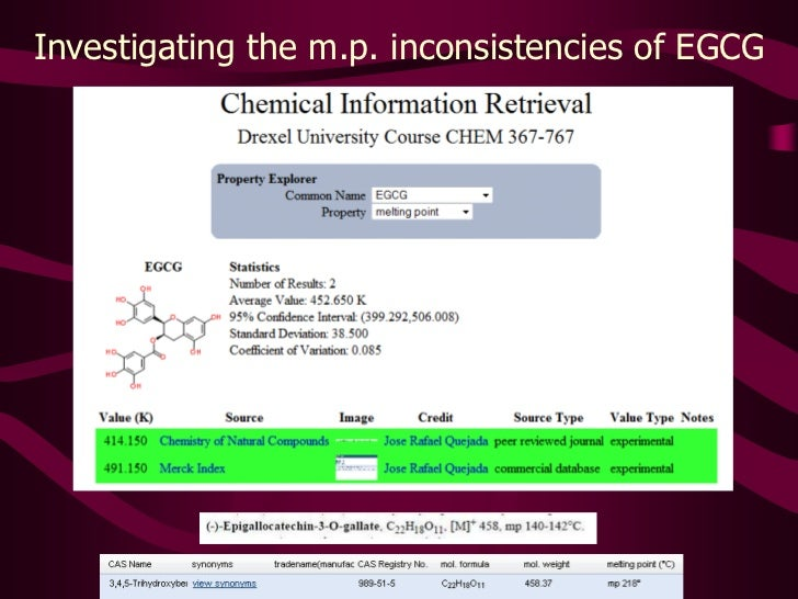 The Chemical Information Validation Sheet <br />567 curated and referenced measurements from <br />Fall 2010 Chemical Info...