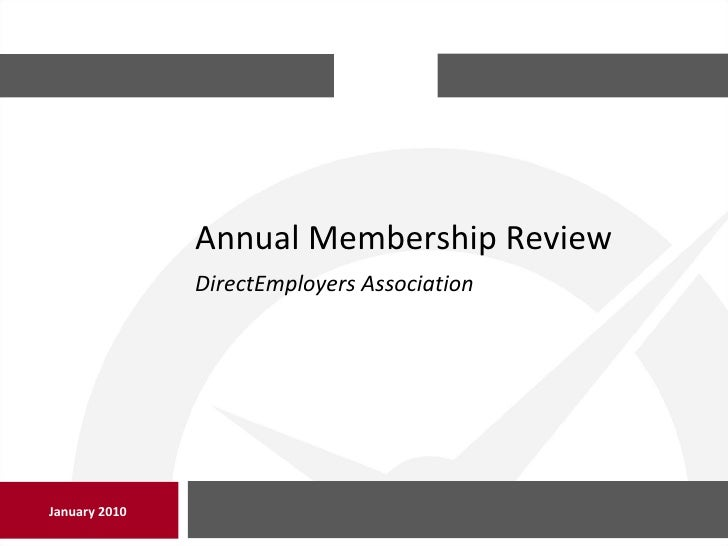 Annual Membership Review January 2010