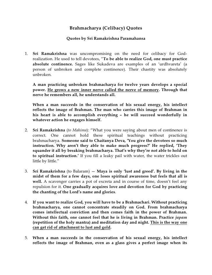 Brahmacharya (Celibacy) Quotes (Sri R Paramahansa)