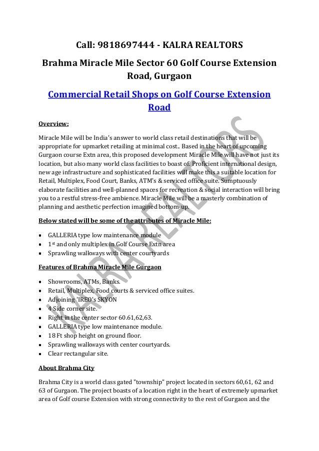 Call: 9818697444 - KALRA REALTORS Brahma Miracle Mile Sector 60 Golf Course Extension                  Road, Gurgaon   Com...