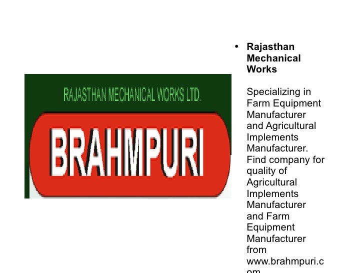 Rajasthan Mechanical Works Specializing in Farm Equipment Manufacturer and Agricultural Implements Manufacturer. Find comp...
