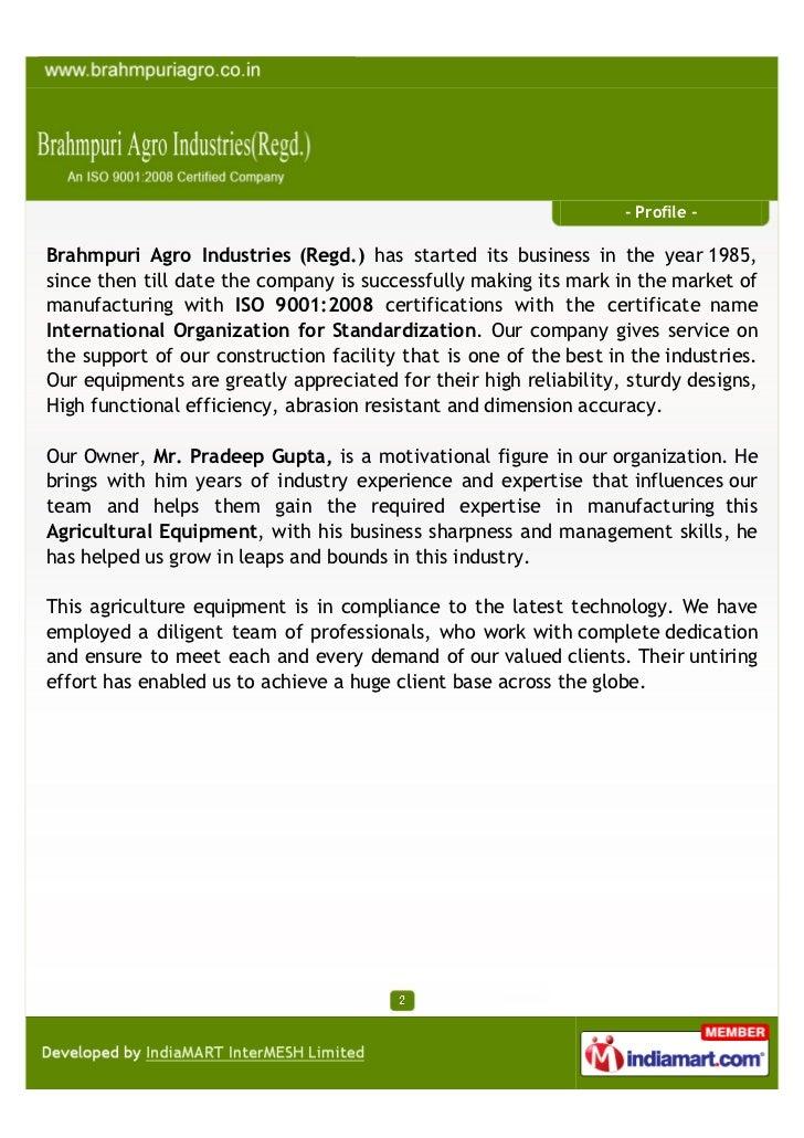 Brahmpuri Agro Industries(Regd.), Jaipur, Pipe Support Tiller Slide 2