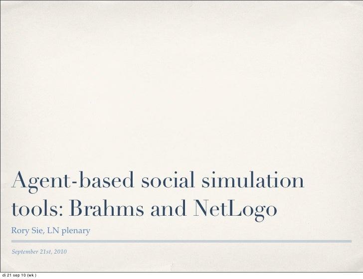 Brahms Net Logo As Agent Based Simulation Tools20100920