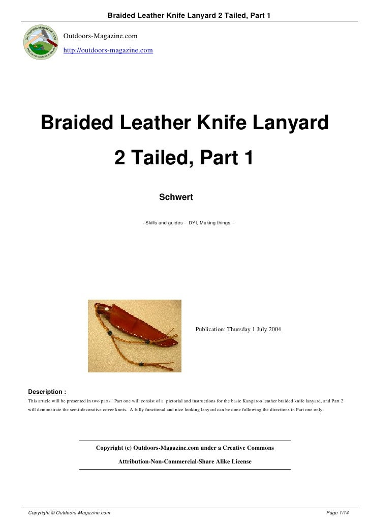 Braided Leather Knife Lanyard 2 Tailed, Part 1                  Outdoors-Magazine.com                  http://outdoors-mag...