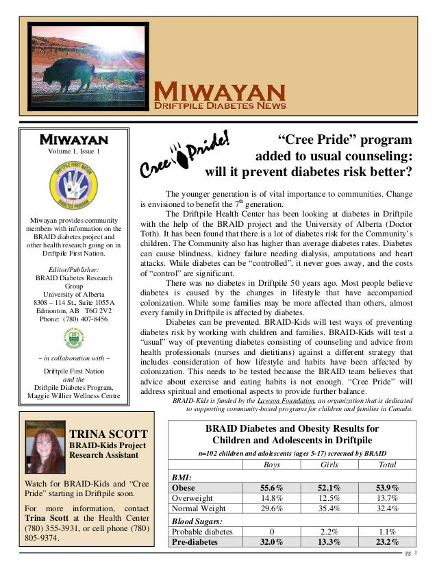 """Cree Pride"" program added to usual counseling: will it prevent diabetes risk better?  Volume 1, Issue 1  Miwayan provides..."