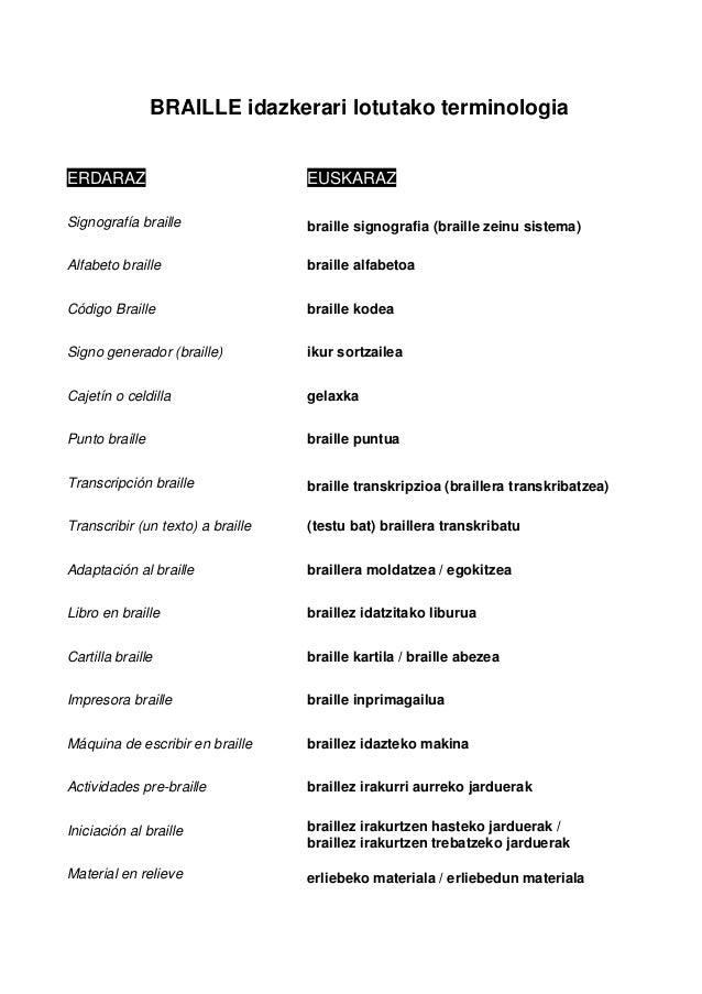 BRAILLE idazkerari lotutako terminologia ERDARAZ EUSKARAZ Signografía braille braille signografia (braille zeinu sistema) ...