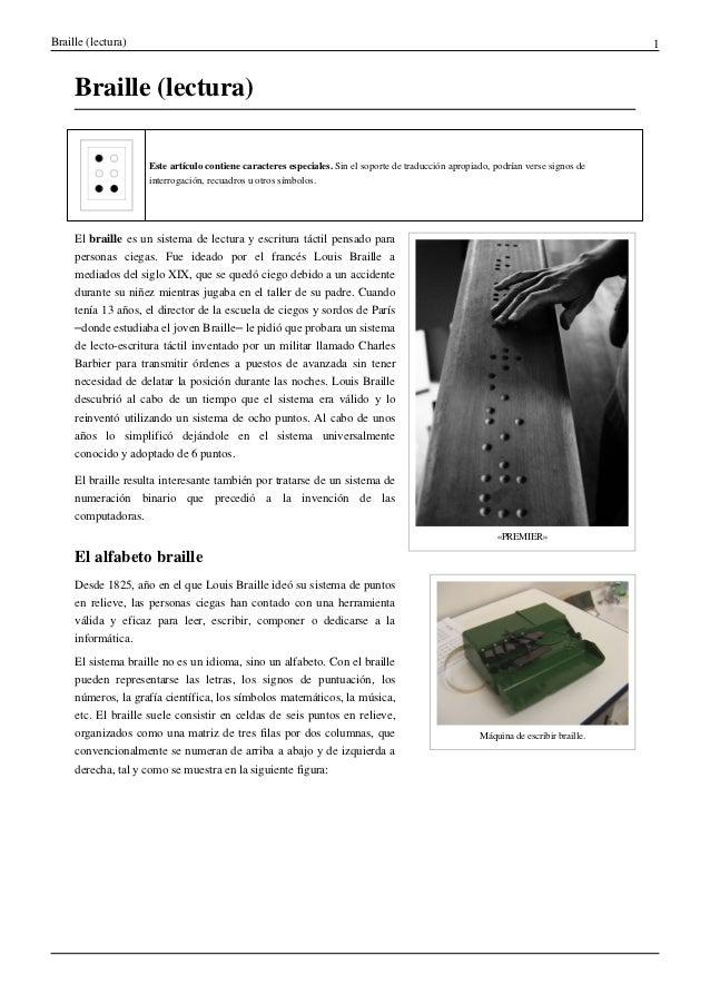 Braille (lectura)                                                                                                         ...