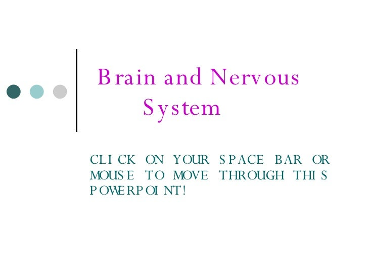 Brain and Nervous  System  CLICK ON YOUR SPACE BAR OR MOUSE TO MOVE THROUGH THIS POWERPOINT!
