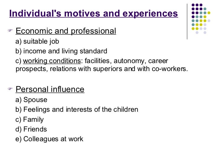 Individual's motives and experiences <ul><li>Economic and professional </li></ul><ul><li>a) suitable job  </li></ul><ul><l...