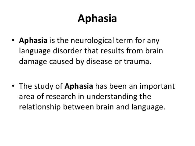Broca's Aphasia Patients with injuries to Broca's area may have Broca's aphasia. • Broca's aphasia is characterized by lab...