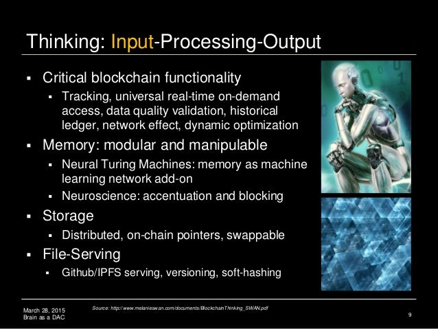 March 28, 2015 Brain as a DAC Thinking: Input-Processing-Output  Critical blockchain functionality  Tracking, universal ...