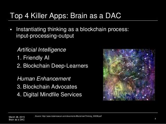 March 28, 2015 Brain as a DAC Top 4 Killer Apps: Brain as a DAC Artificial Intelligence 1. Friendly AI 2. Blockchain Deep-...