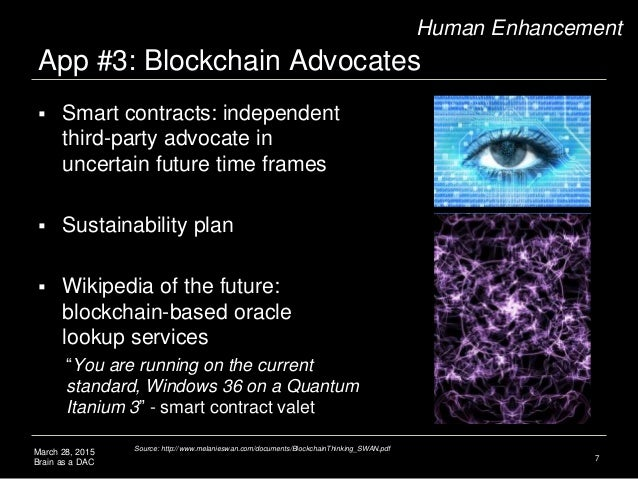 March 28, 2015 Brain as a DAC App #3: Blockchain Advocates 7 Human Enhancement  Smart contracts: independent third-party ...