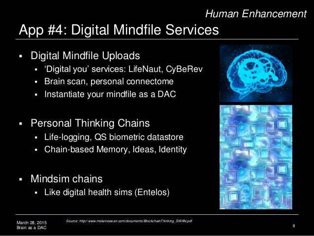 March 28, 2015 Brain as a DAC App #4: Digital Mindfile Services 8 Human Enhancement  Digital Mindfile Uploads  'Digital ...