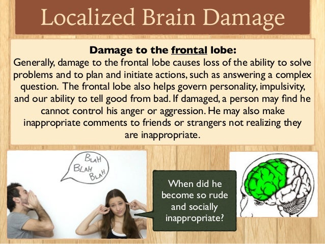 brain damage and behavior Lcohol consumption can damage the nervous system, including the brain consequently, alco-holics1 and chronic heavy drinkers can suffer abnormalities in their mental.