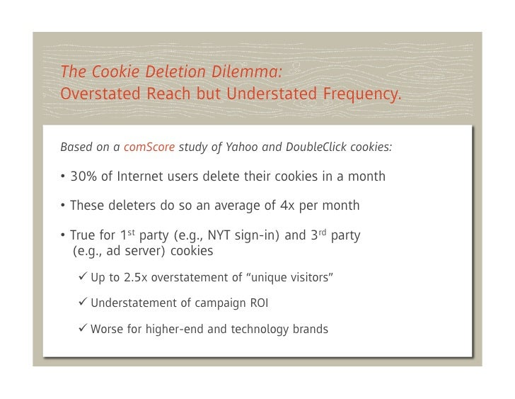 The Cookie Deletion Dilemma:Overstated Reach but Understated Frequency.Based on a comScore study of Yahoo and DoubleClick ...