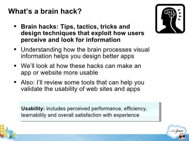 Brain hacks for designing usable applications Slide 3