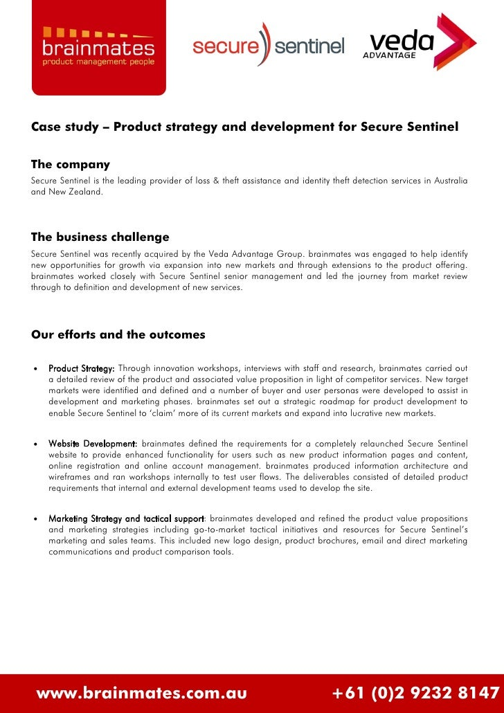 Case study – Product strategy and development for Secure Sentinel  The company Secure Sentinel is the leading provider of ...