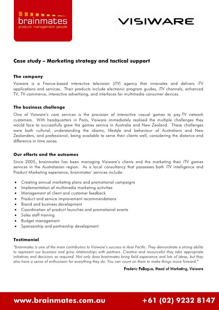 Case study – Marketing strategy and tactical support  The company Visiware is a France-based interactive television (iTV) ...
