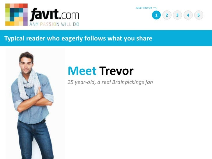 MEET TREVOR<br />1<br />2<br />4<br />5<br />3<br />Typical reader who eagerly follows what you share<br />Meet Trevor<br ...