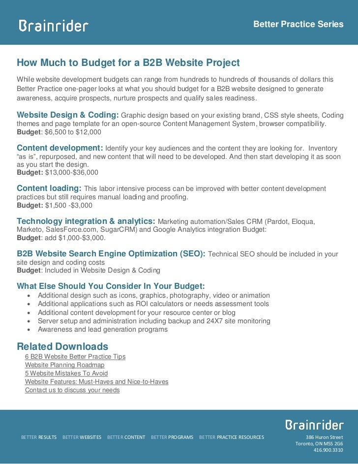 how much to budget for a b2b website project