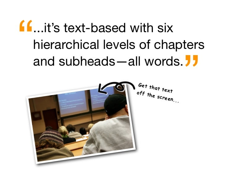 """ ...it's text-based with six hierarchical levels of chapters                                           "" and subheads—all..."