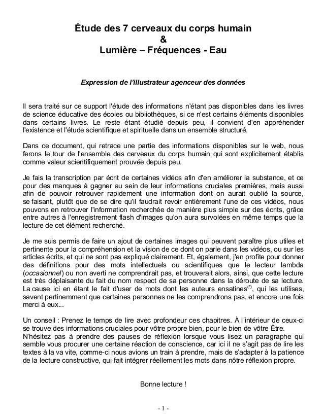 Étude des 7 cerveaux du corps humain & Lumière – Fréquences - Eau Expression de l'illustrateur agenceur des données Il ser...
