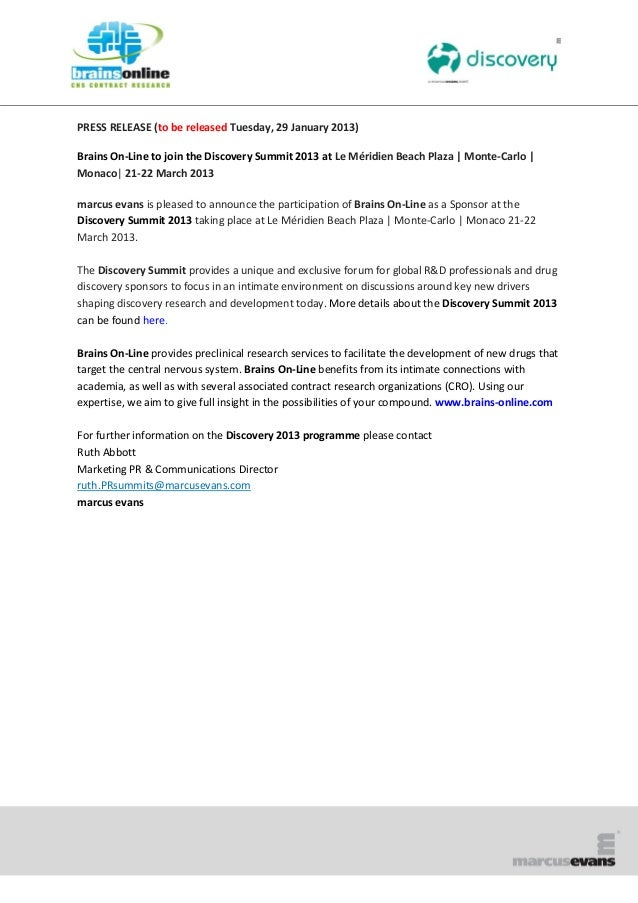 PRESS RELEASE (to be released Tuesday, 29 January 2013)Brains On-Line to join the Discovery Summit 2013 at Le Méridien Bea...