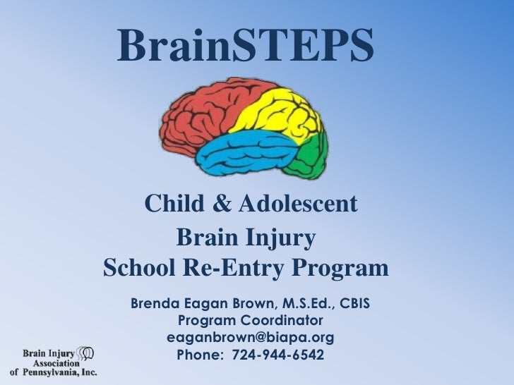 BrainSTEPSChild & Adolescent Brain Injury School Re-Entry Program<br />Brenda Eagan Brown, M.S.Ed., CBIS<br />Program Coor...