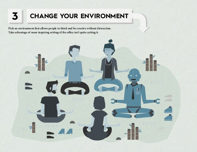 3 CHANGE YOUR ENVIRONMENT Pick an environment that allows people to think and be creative without distraction. Take advant...