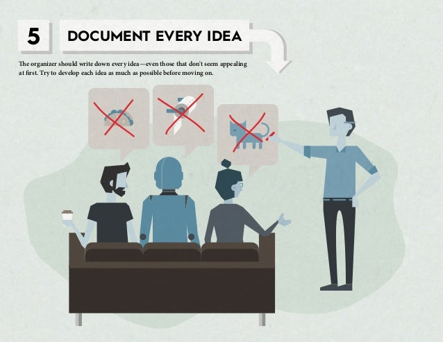 5 DOCUMENT EVERY IDEA The organizer should write down every idea—even those that don't seem appealing at first. Try to dev...