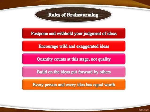 Summary of standard brainstorming session