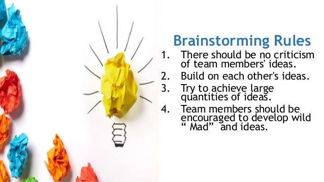 Brainstorming Rules 1. There should be no criticism of team members' ideas. 2. Build on each other's ideas. 3. Try to achi...
