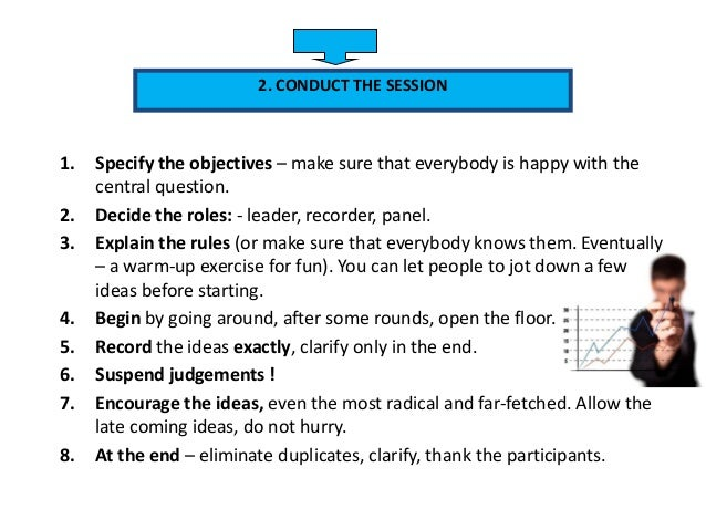1. Specify the objectives – make sure that everybody is happy with the central question. 2. Decide the roles: - leader, re...