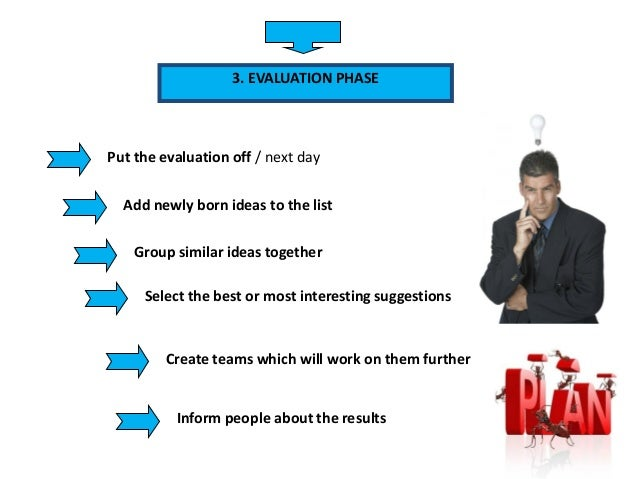 3. EVALUATION PHASE Put the evaluation off / next day Add newly born ideas to the list Group similar ideas together Select...