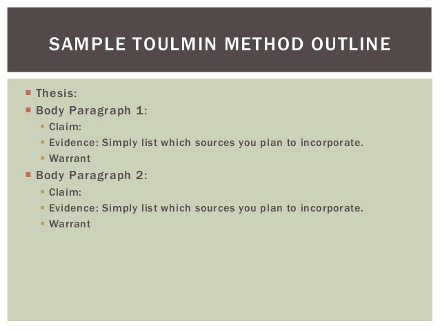 using the toulmin method to outline your paper 12 toulmin analysis essay example - Toulmin Analysis Essay Example