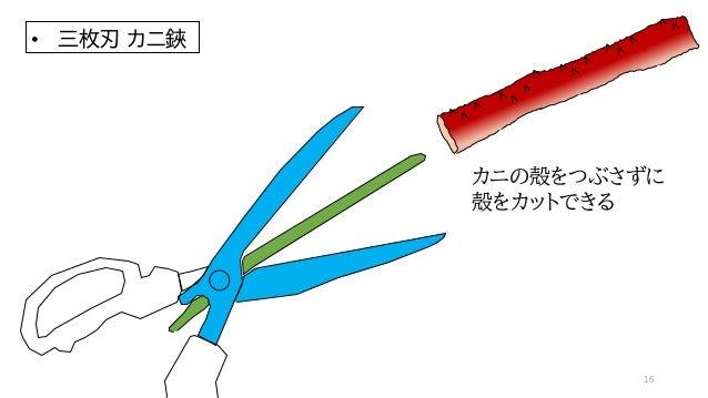 カニの殻をつぶさずに 殻をカットできる • 三枚刃 カニ鋏 16