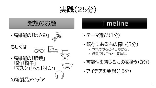 実践(25分) 発想のお題 • 高機能の「はさみ」 もしくは • 高機能の「眼鏡」 「靴」「椅子」 「マスク」「ヘッドホン」 の新製品アイデア Timeline • テーマ選び(1分) • 既存にあるもの探し(5分) • 本気でやると半日かかる...