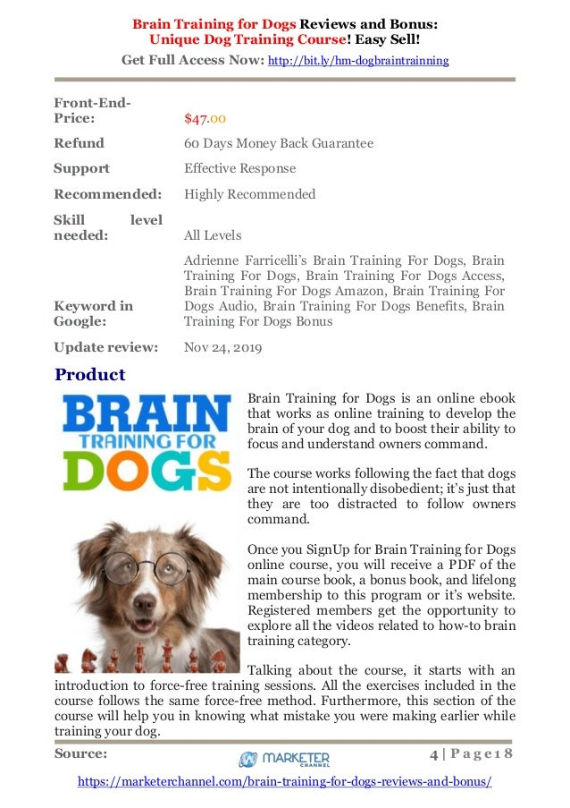 Warranty On Brain Training 4 Dogs  Obedience Training Commands