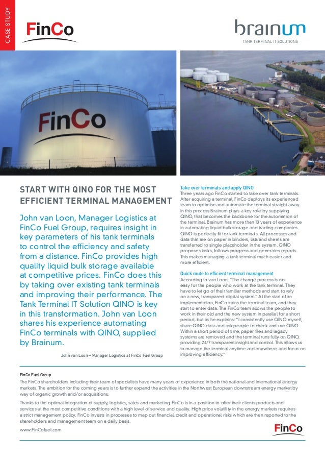 John van Loon, Manager Logistics at FinCo Fuel Group, requires insight in key parameters of his tank terminals to control ...