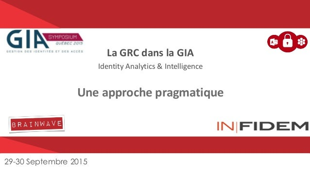 Brainwave Proprietary and Confidential Information – All Rights Reserved. La GRC dans la GIA Identity Analytics & Intellig...