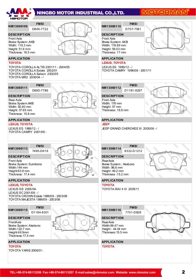 Motorman Brake Pad Catalog