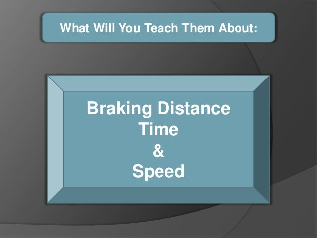 What Will You Teach Them About:    Braking Distance          Time            &         Speed