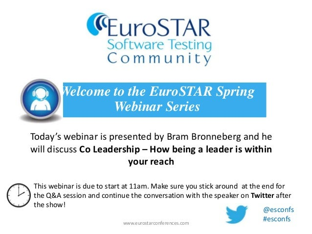 Today's webinar is presented by Bram Bronneberg and hewill discuss Co Leadership – How being a leader is withinyour reachW...
