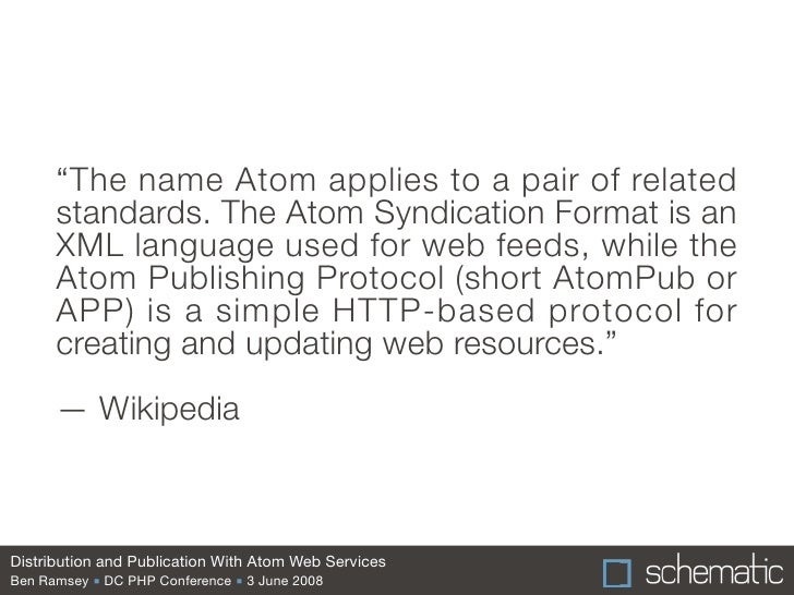 Distribution and Publication With Atom Web Services Slide 3