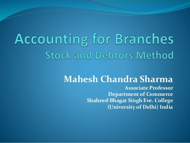 Branch and departmental accounts pdf