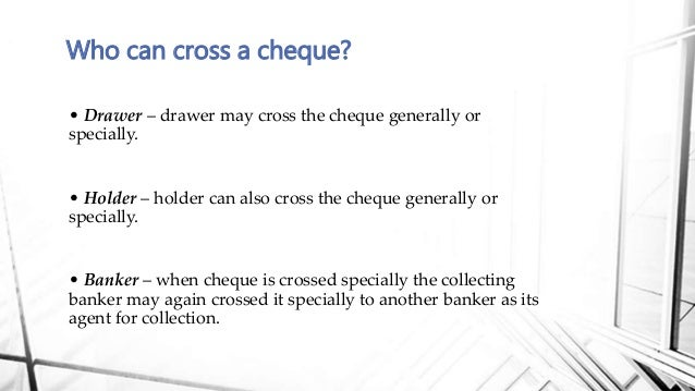 why are cheques crossed