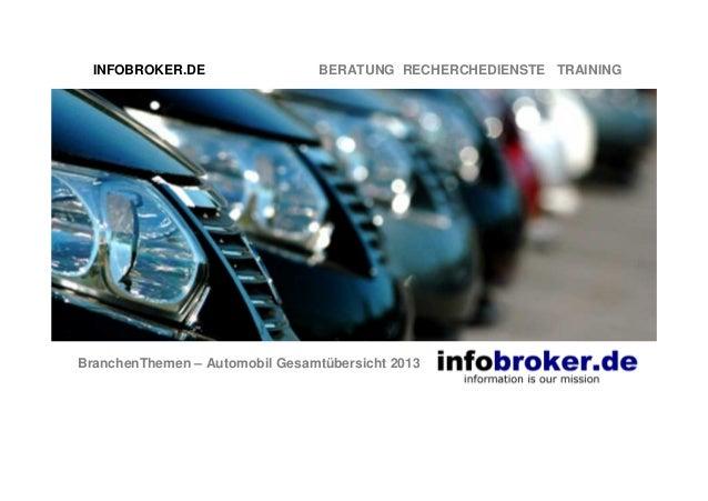 INFOBROKER.DE  BERATUNG RECHERCHEDIENSTE TRAINING  BranchenThemen – Automobil Gesamtübersicht 2013