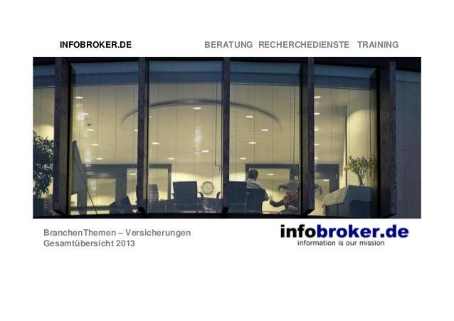 INFOBROKER.DE  BranchenThemen – Versicherungen Gesamtübersicht 2013  BERATUNG RECHERCHEDIENSTE TRAINING