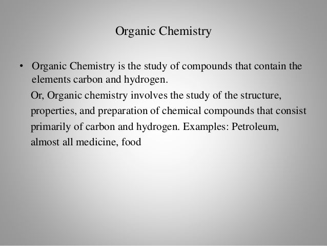 branch of chemistry that deals with substances in which carbon is present